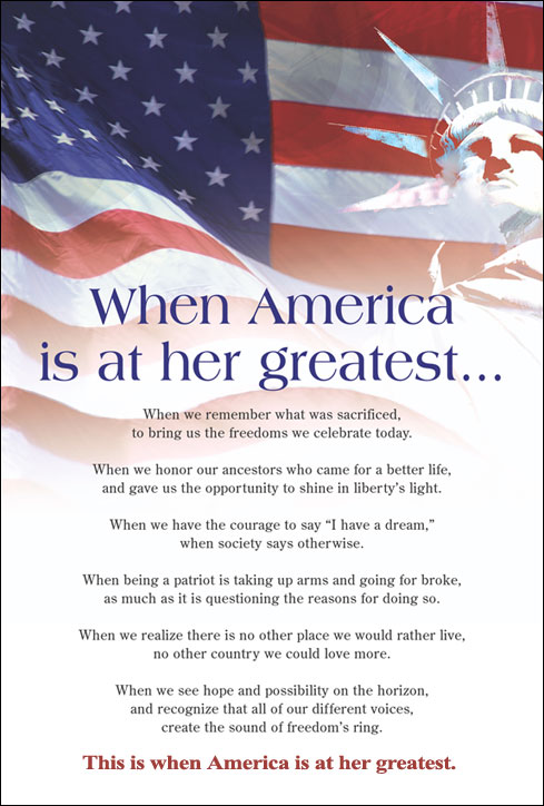 When America is at her Greatest